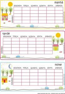 tabela de horario - escola