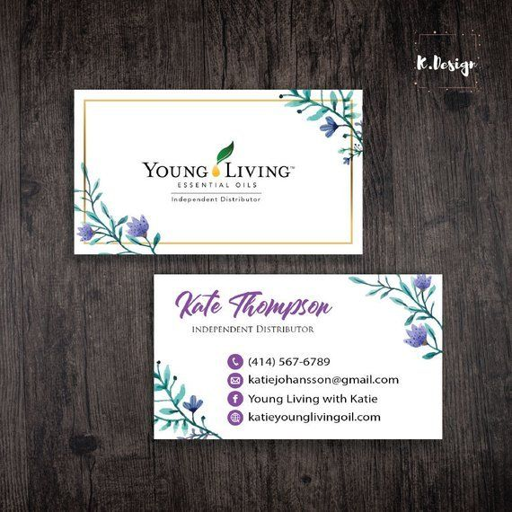 Watercolor Young Living Business Card Young Living Business Cards