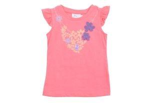 Franela para niña en color rosado fosforescente, cuello redondo y sin mangas. Estampado al frente en colores fosforescentes.
