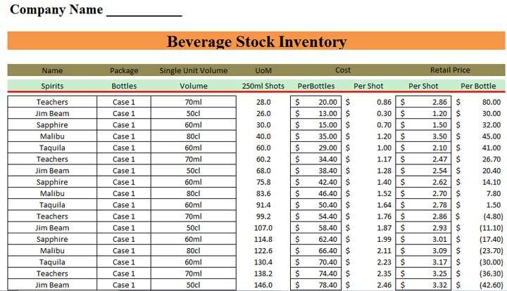 beverage stocktake template excel  u2013 excel template