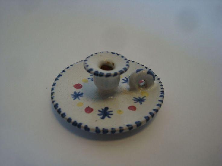 Antique Rye Pottery Miniature Chamberstick Candle Holder Multicoloured Slipware