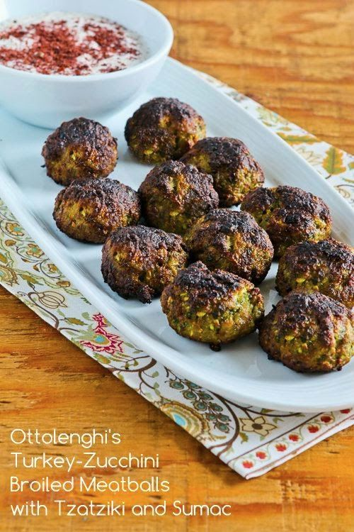 Ottolenghi's Turkey-Zucchini Meatballs with Tzatziki Sauce and Sumac; even though they won't win any beauty contests, these meatballs with grated zucchini and no breadcrumbs are completely delicious! (Low-Carb, Gluten-Free) [from KalynsKitchen.com]