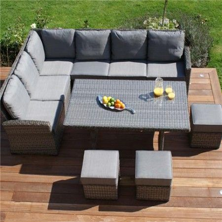 maze rattan victoria kingston corner dining set in grey rattan garden furniture