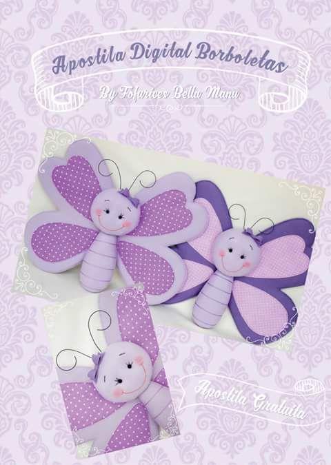 Tutorial e molde de borboletinha linda em feltro! By Fofurices Bella Manu