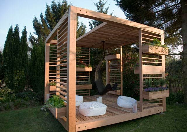 Something like this in the back yard, near the master bedroom would be nice in the back corner, maybe for outdoor sleeping or a small hot tub.