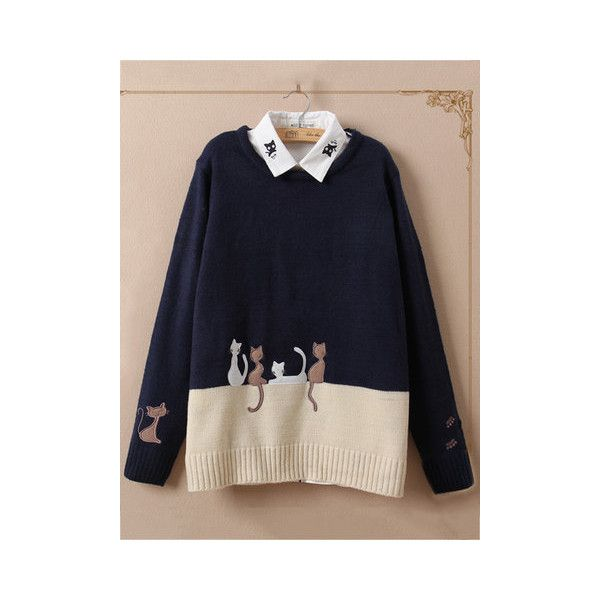 Cute Cat Embroidery Knitted Sweater ($31) ❤ liked on Polyvore featuring tops, sweaters, navy blue, blue top, embroidered sweater, navy long sleeve top, cat sweaters and long sleeve tops