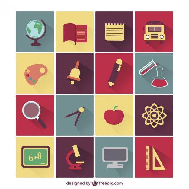 Vector school education icons set