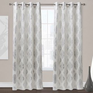 ati home augustus silver foil grommet top 84inch curtain panel pair by ati home