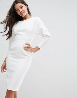 Платье-футляр миди в стиле 80-х с пышными рукавами ASOS