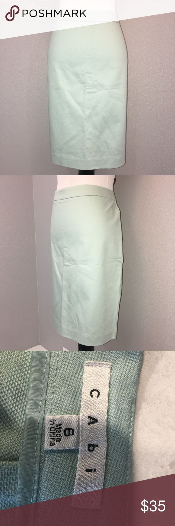 """CAbi almond pale mint green pencil skirt size 6 CAbi almond pale mint green pencil skirt size 6. 98% cotton 2% spandex. Approximate measurements laying flat-waist: 16"""" length: 21.5"""". Great for wear to work. CAbi Skirts Midi"""