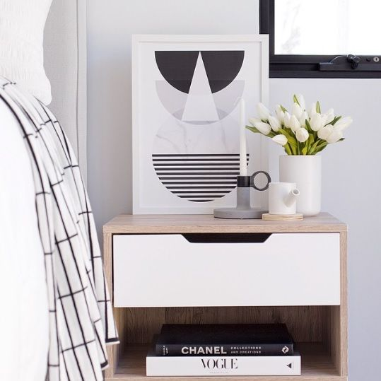 Add sophisticated style to your bedroom with our Jesse Bedside Cabinet. Image and styling by Tarina Lyell.