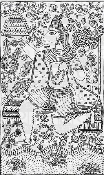 Indian Painting Styles...Madhubani/Mithila  Painting (Bihar)-madhubani-hanuman.jpg