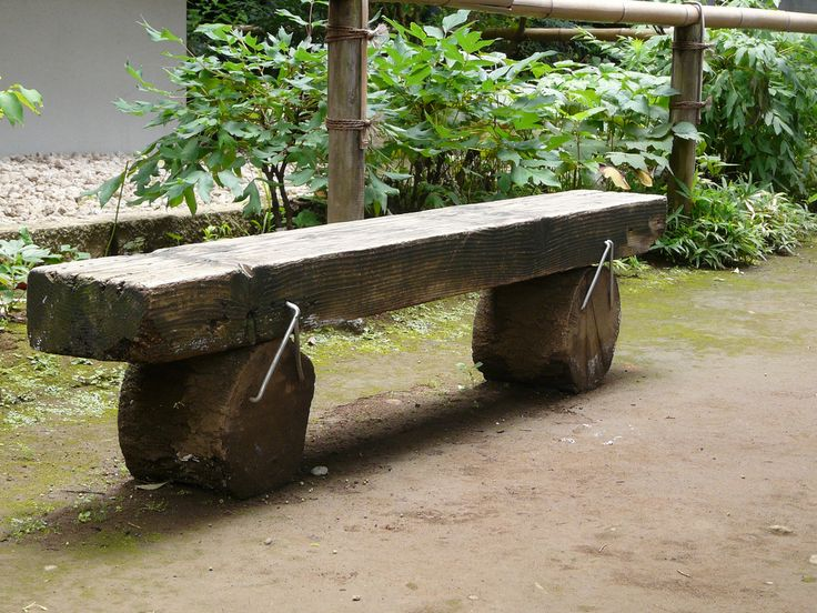 Park Bench made with a Railway Sleeper and Staples
