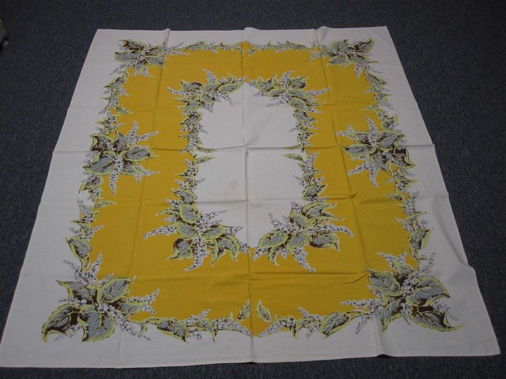 VTG YELLOW & WHITE COTTON KITCHEN TABLECLOTH w LILY OF THE VALLEY BOUQUETS 52x58 | eBay
