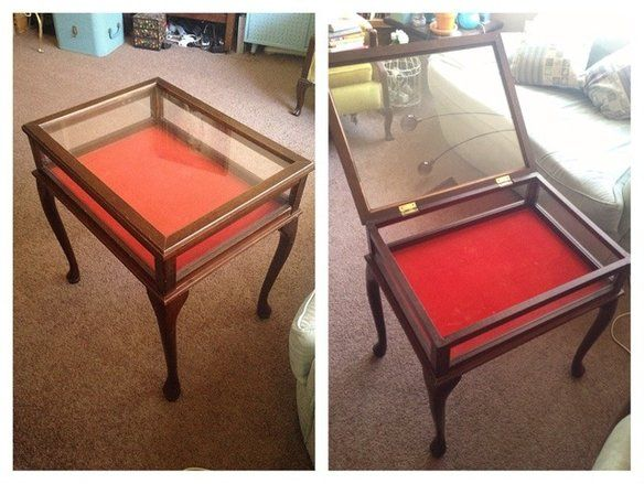 Antique Glass Top Display Case Wood Side Table Pinterest