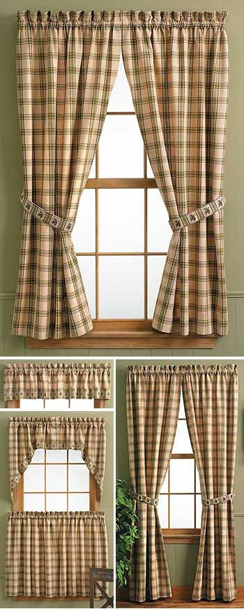 Country kitchen curtains window treatments and lodges on for Kitchen shades and blinds