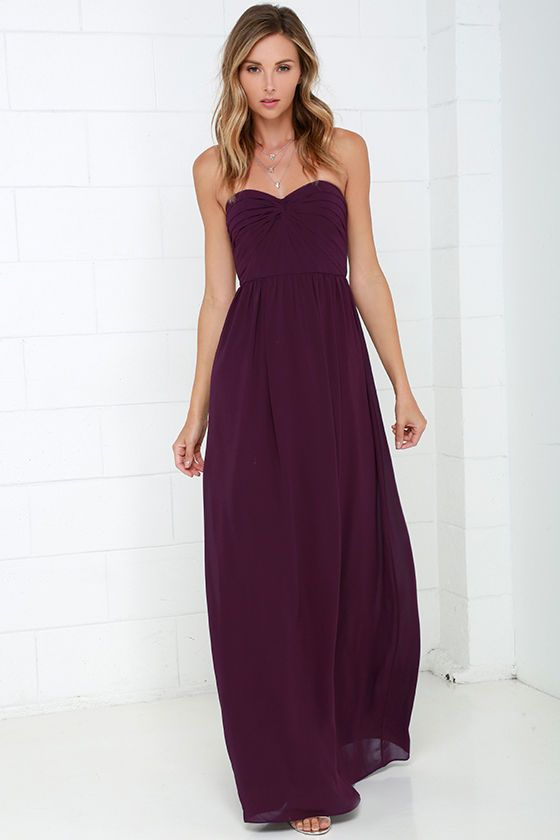 Sapphires or Rubies Plum Purple Strapless Maxi Dress at Lulus.com!