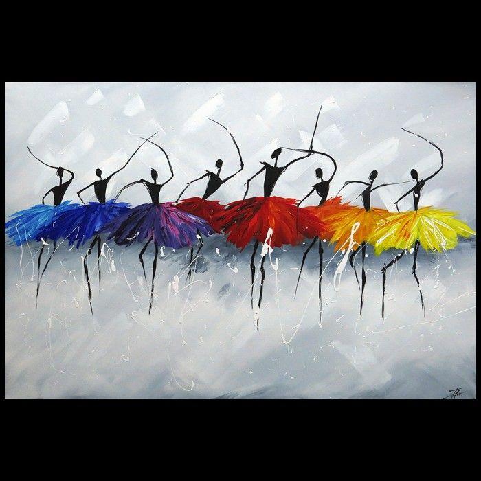 Schilderij acht Ballerina's met acrylverf Kunst