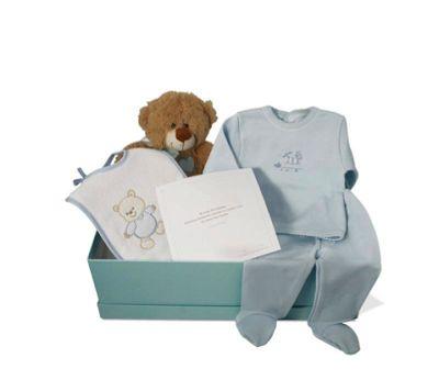 """""""Canastilla Low Cost 1"""" - 44€ (envío a la península incluido) Incluye Caja forrada; Osito;   Camiseta de algodón 100%;   Polaina de algodón 100%;   Babero suave"""