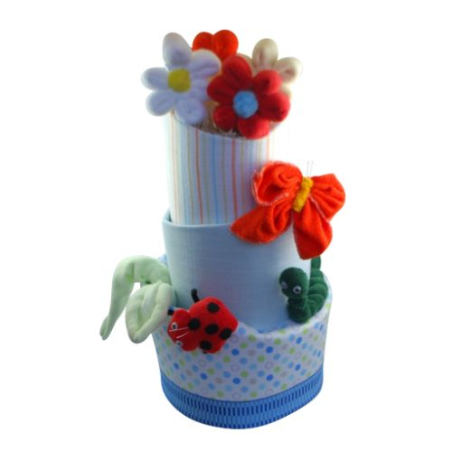 This 3 tier unisex nappy cake is a creation focused on the cute aspects of bugs life Within this unisex nappy cake are several mini beasts created