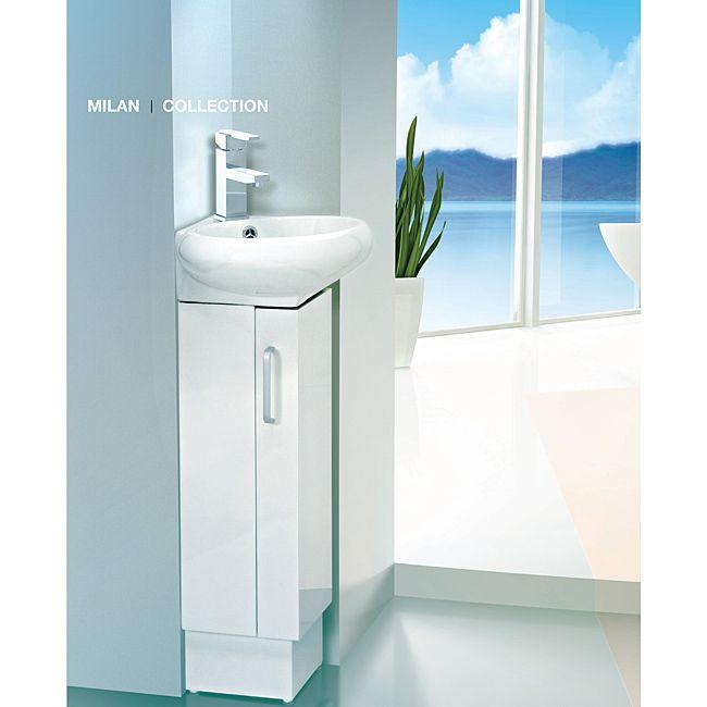Fine Fixtures Milan Wood White Small Corner Bathroom Vanity by Fine  Fixtures. Milan 12 Inch ...