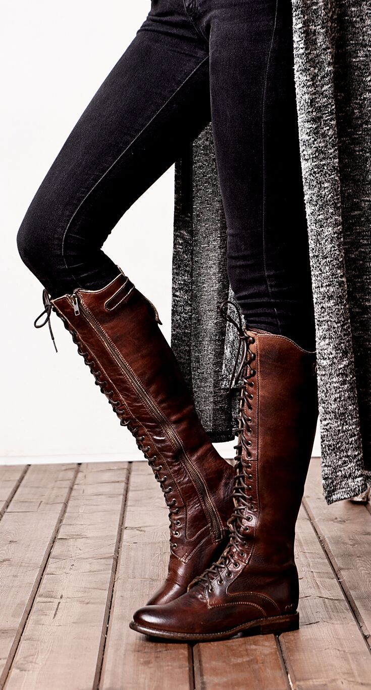 Brown BEDSTU lace up riding boot styled with black denim and long black and  white sweater