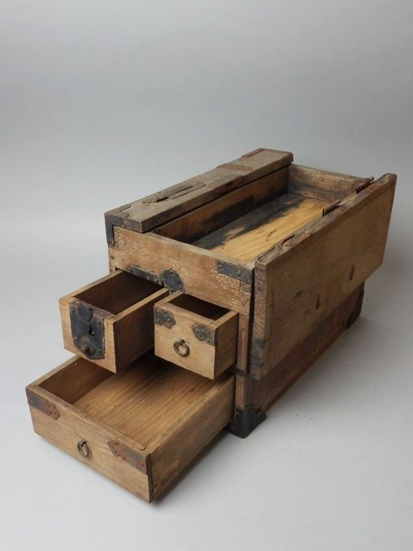 6km Japanese Antique Wood Suzuri Bako Tansu Kodansu Furniture Drawer ...
