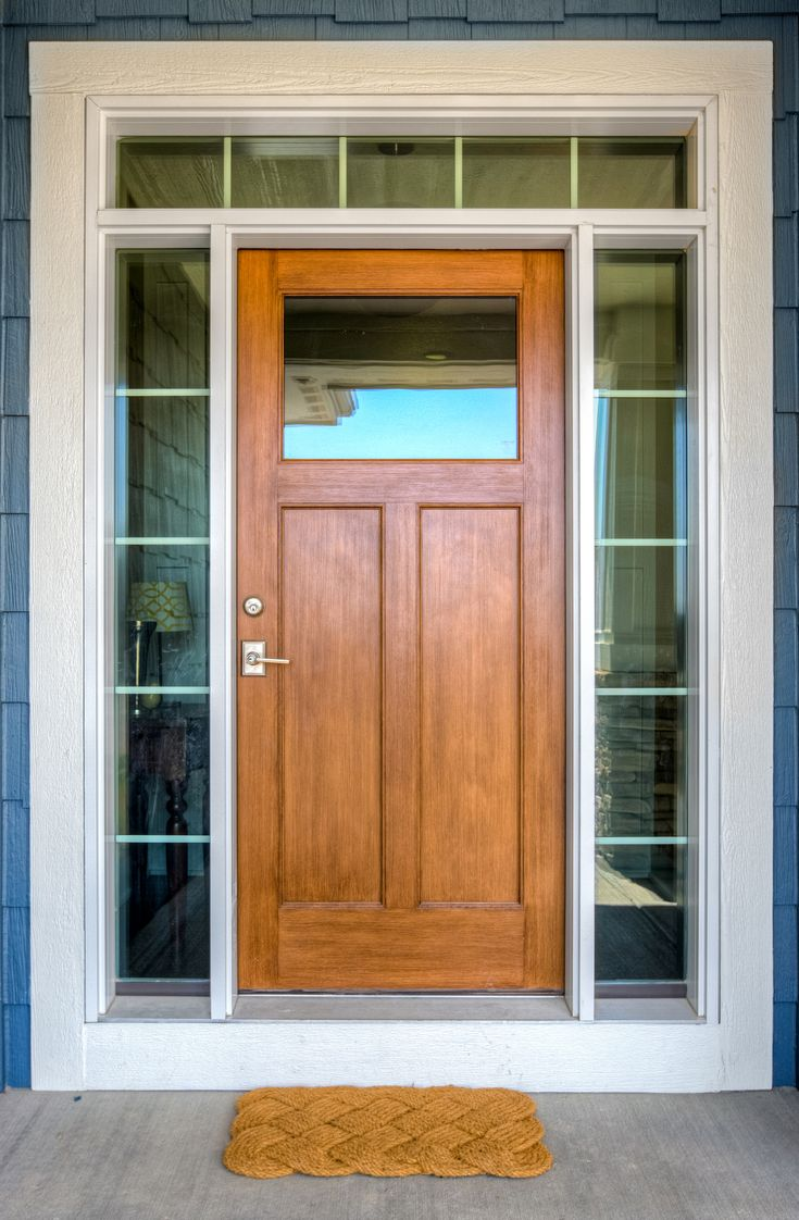 Stained Fiberglass Front Door With Sidelights And Transom