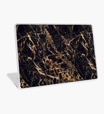 Black and Gold Marble - Gold Veined Laptop Skin