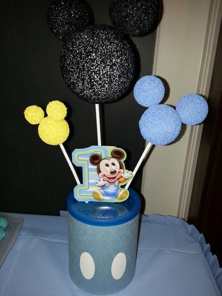 Mickey centerpieces - made from recycled formula cans, construction paper, styrofoam balls, spray paint, wooden skewers