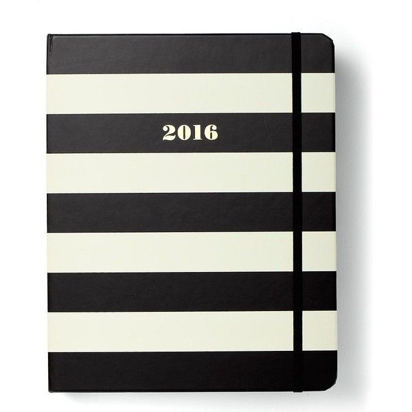 Kate Spade 2016 17-Month Large Agenda- Black Stripe (€33) ❤ liked on Polyvore featuring home, home decor and stationery