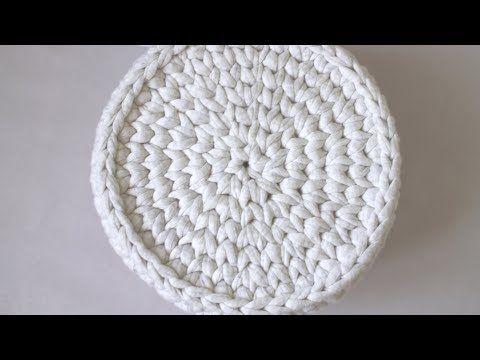 Вязание крючком без шва . Корзинка из трикотажной пряжи - YouTube