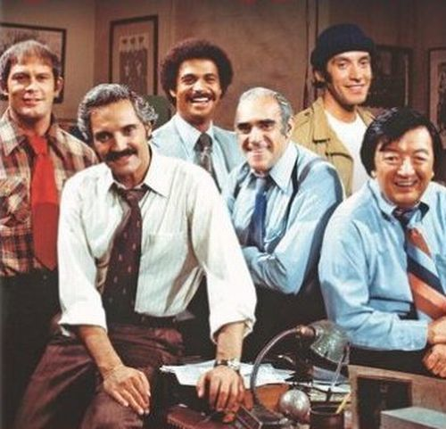 "Barney Miller (January 23, 1975 to May 20, 1982, ABC) — (left to right): Max Gail (Det. Stanley ""Wojo"" Wojciehowicz), Hal Linden (Captain Barney Miller), Ron Glass (Sgt. Ron Harris), Abe Vigoda (Sgt. Philip Fish), Gregory Sierra (Sgt. Miguel Amangua), & Jack Soo (Sgt. Nick Yemanao)"