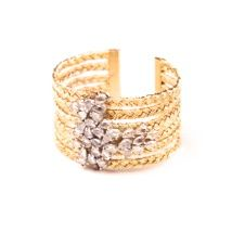 Fashion jewellery Designer- Twinkle in Your Eye- Gold Cuff Removable sparkle cluster hand woven gold band with cubic zirconia's