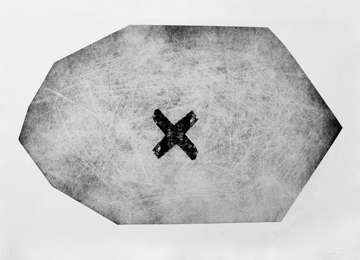 """Witold Winek """"uoIII"""". 78X106, relief print, 2014"""