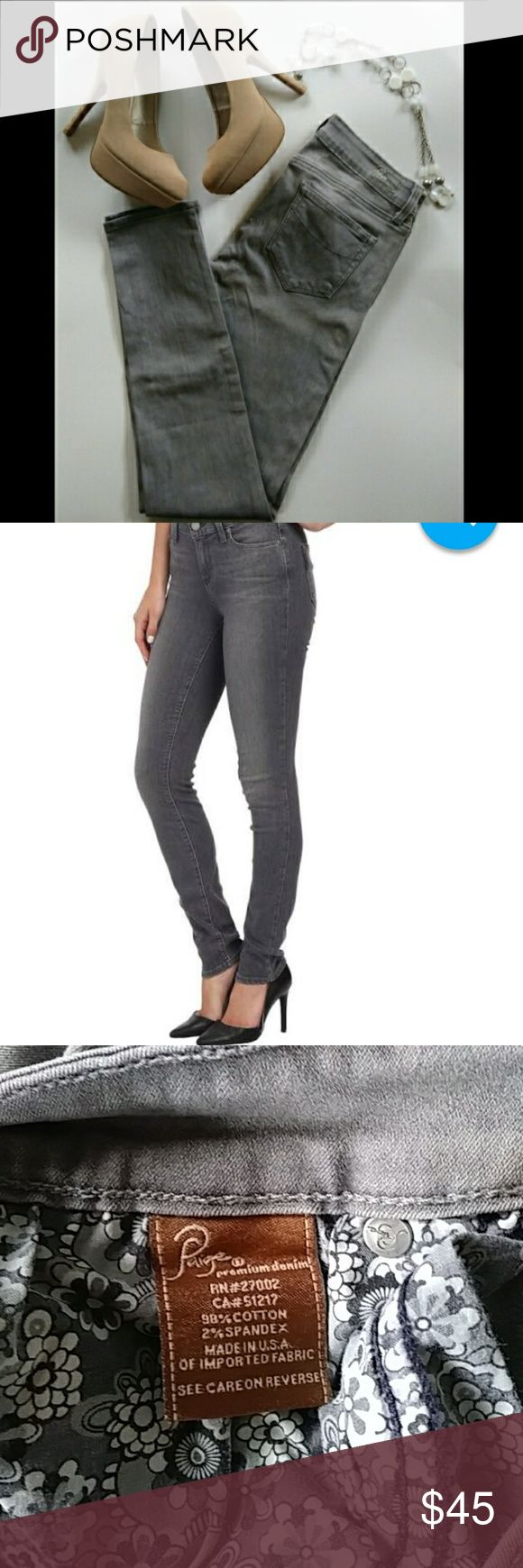 """💎PAIGE SIZE 27 VERDUGO JEGGING GRAY JEANS💎 Stretchy & Comfy Jeggings 🎀 Pair with some sexy pumps Like New w/ no stains rips or tears!!!! 💎   🌹(shoes in pic are 4 sale too!!!)🌹   Size: 27 Inseam: 29"""" Leg Opening: 5"""" Color: Gray   Any Questions About These Cute Jeans??? Feel Welcome To Let Me Know!!! 😊 Thank You For Shopping At My Closet & Stay Beautiful!!! 💋💋💋    🚫No Trades 👍Open 2 Offers PAIGE Jeans Skinny"""
