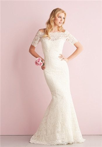 Lace gown in soft mermaid silhouette and removable lace bolero // 2700 from Allure Romance