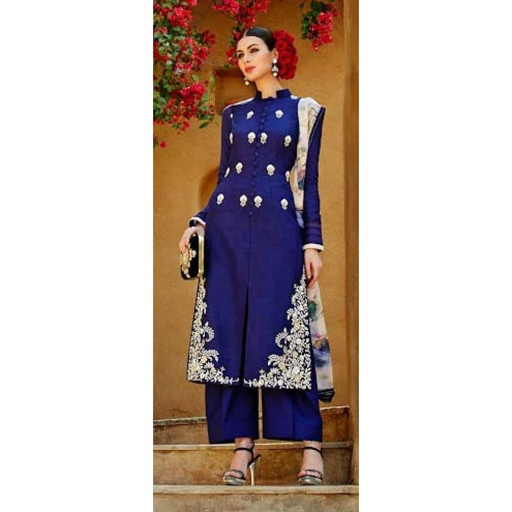 Achkan Style Embriodered Suit in Navy Blue With White Dupatta