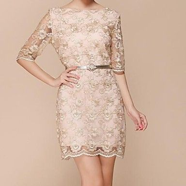 Women's Casual/Party/Work Inelastic ½ Length Sleeve Above Knee Dress ( Lace/Polyester )(1648806) – USD $ 17.99