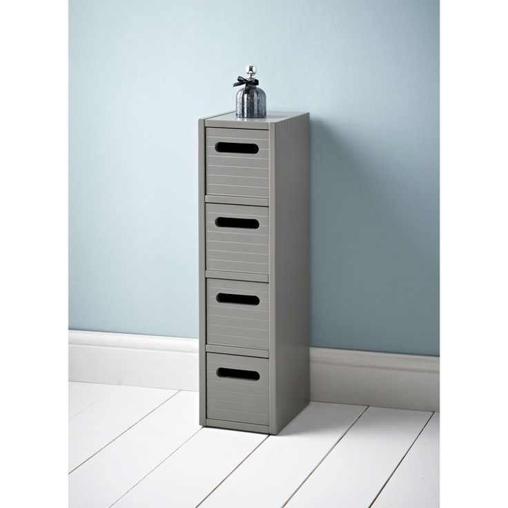 Polar 4 Drawer Unit. With a contemporary Grey finish, this set of drawers is perfect for keeping a tidy bathroom - Browse more bathroom furniture at B&M
