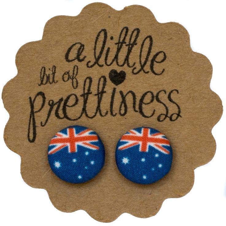 AUSTRALIA DAY fabric covered button earrings $8.00 www.alittlebitofprettiness.com.au