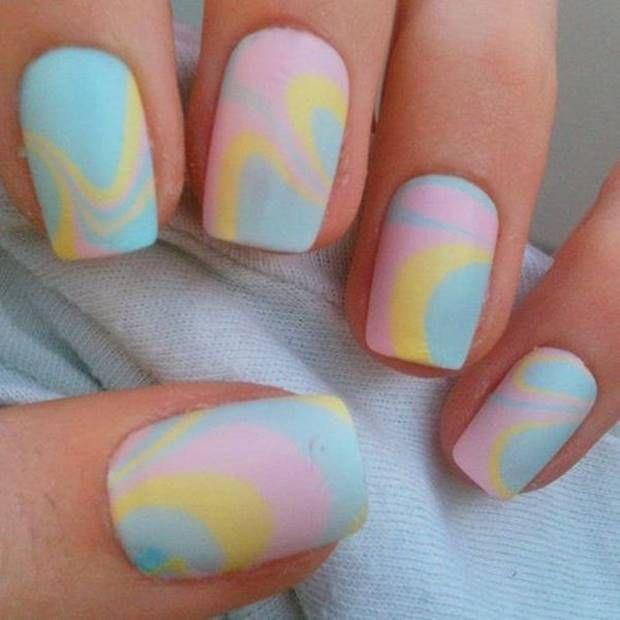 احدث مناكير ازرق سماوي فاتح و غامق 2019 The Latest Light And Dark Blue Nail Polish صور الما Pastel Nails Marble Nail Designs Water Marble Nail Art