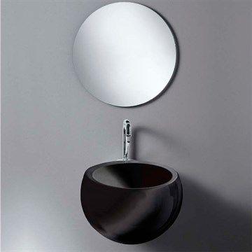 Sort håndvask Globo til væg i porcelæn