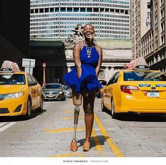 Black girl magic by Nikola Tamindzic.  #nikolatamindzic #blackgirlmagic #stylish #beauty #photography #photoshooting #newyork #citylife #lifestyle #onelegged #gracious #smile #keepsmiling #shinning #bright #women #DlrGallery by gallerydelarue