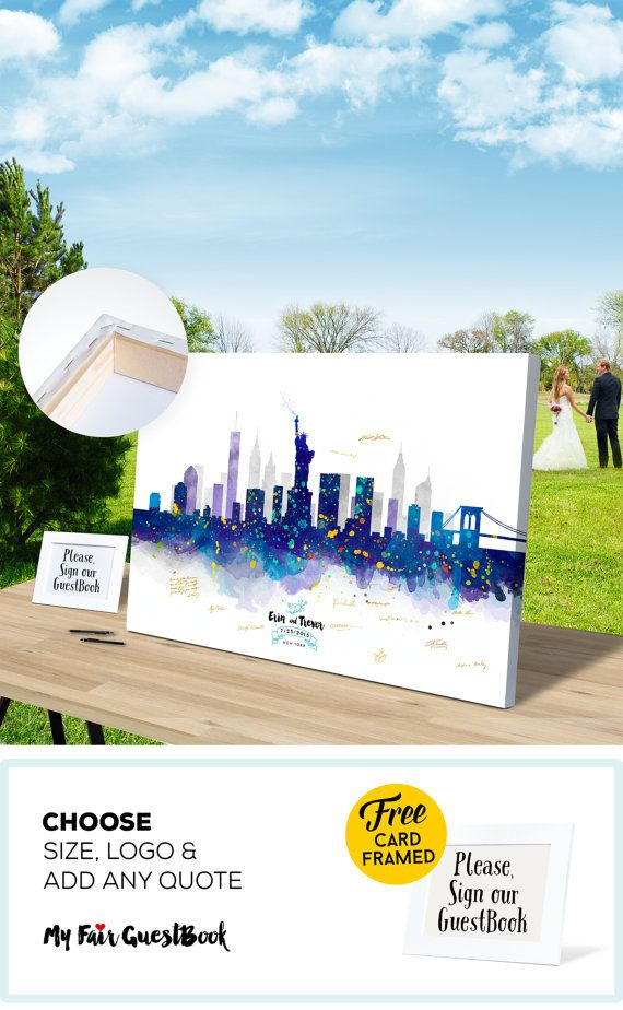 Alternative Wedding Guest Book New York Skyline CANVAS Guest Book, Bride and Groom, Wedding Gift Ideas, Bridal shower Gift