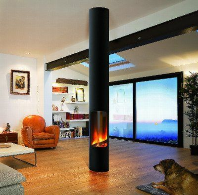 #cheminee slimfocus foyer sur pied central, fermé à hublot #design contemporain. Compatible #BBC