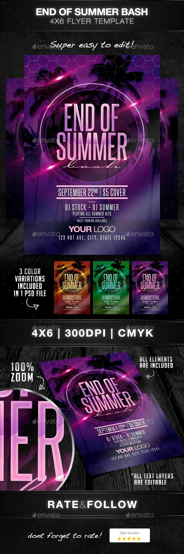 End Of Summer Bash Flyer Template PSD. Download here: https://graphicriver.net/item/end-of-summer-bash-flyer-template/17209824?ref=ksioks