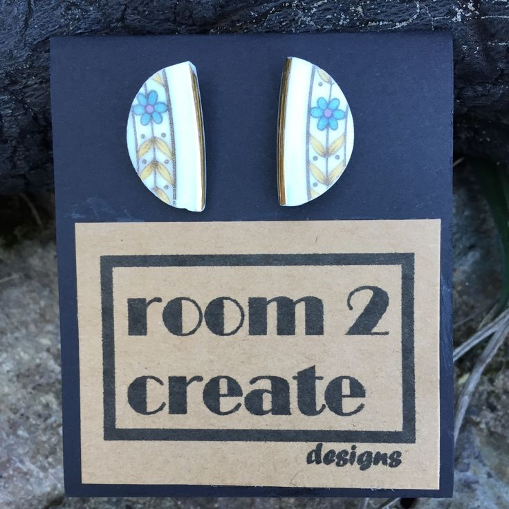 Earrings hand cut from recycled china Room2createdesigns.com