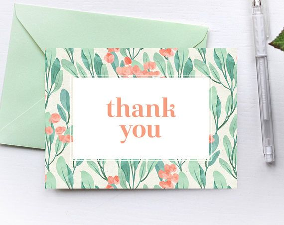 This thank you card is perfect for any occasion! It features a watercolor eucalyptus print with touches of coral. This listing is for a print-ready, high resolution, digital file for you to instantly print at home or at a professional print shop. This thank you card is formatted to fit perfectly into A6 envelopes! It can be trimmed to A6, postcard size, which is 4.5 x 6.25 inches If you would like a different size, such as A7 (5x7 inches), please let me know in the checkout notes and I will…