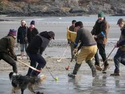 shinty, new years day on ardalanish beach